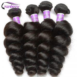 Cranberry Hair Store Peruvian Loose Wave Hair Bundles 100% Human Hair Extensions Natural Hair Weave Bundles 10-26 inch Non Remy