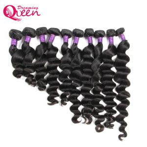 Peruvian Loose Wave 100% Remy Human Hair Extension Weave Bundles 8-30 inch instock Dreaming Queen Hair Natural Black Color