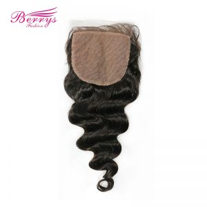 [Berrys Fashion] Loose Wave 4x4 Silk Base Lace Closure Peruvian Human Hair Extensions with Baby Hair Medium Brown Remy Hair