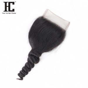 HC Hair Products Loose Wave Free Part 4x4 Swiss Lace Closure Remy Human Hair 130% Density Natural Color 8-18inch Only One Piece