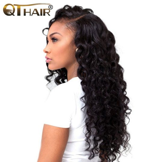 Well Hold Curl Minimal Shedding Loose Wave Weave Malaysian Hair Bundles Non Remy 100% Human Hair Weaving Natural Color QThair