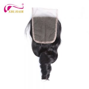 XBL HAIR Loose Wave Lace Closure 4*4 Malaysian Remy Hair Natural Color 100% Human Hair Free Shipping