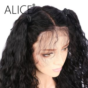 ALICE Deep Wave Pre Plucked Full Lace Human Hair Wigs For Black Women Brazilian Virgin Hair Natural Color Lace Wigs