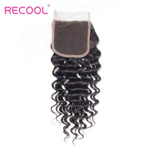 Brazilian Deep Wave Lace Closure Free Part Recool Hair Remy Human Hair Closure 4x4 Medium Brown 10-20 Inches Free Shipping