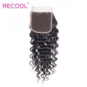 Brazilian Deep Wave Lace Closure Free Part Recool Hair Remy Human Hair Closure 4x4 Medium Brown 10-20 Inches Free Shipping