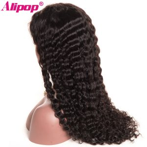 "[ALIPOP] Deep Wave Brazilian Lace Front Human Hair Wigs For Black Women With Baby Hair Pre Plucked None remy Lace Wig 8""-24"""