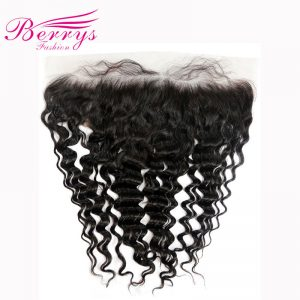 Berrys Fashion Brazilian Lace Frontal 13x4 Deep Wave 100% Unprocessed Human Virgin Hair Free Part Bleached Knots with Baby Hair