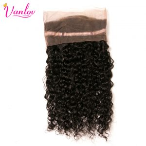 Vanlov Brazilian Deep Wave 360 Lace Frontal Closure Free Part 100% Human Hair Natural Hairline Non Remy Can Be Dyed
