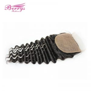 [Berrys Fashion] Brazilian Deep Wave Silk Base Lace Closure 4x4 Human Hair Extensions Remy Hair Bundles Closure with Baby Hair