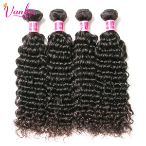 Vanlov Deep Wave Brazilian Hair Weave Bundles 100% Human Hair Bundles Remy Hair Extension Natural Black Can Buy 3/4 Bundles