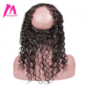 Maxglam 360 Lace Frontal Closure Pre Plucked Hairline With Baby Hair Brazilian Deep Wave Remy Human Hair Free Shipping