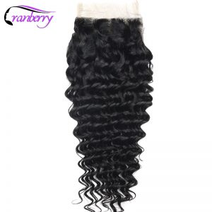 Cranberry Hair Brazilian Deep Wave Hair Closure Free Part 100% Remy Human Hair Swiss Lace Closure Natural Color Free Shipping