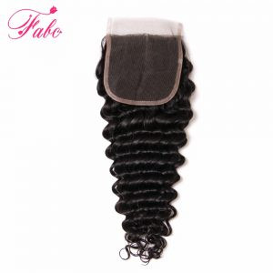 Fabc Hair Brazilian Deep Wave Lace Closure Middle Part Closure 10''-20'' 100% Remy Human Hair Swiss Lace 1 Piece Free Shipping