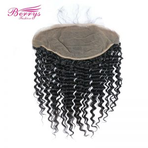 [Berrys Fashion] Lace Frontal Closure Brazilian Deep Wave Human Hair Natural hairline Free Part Bleached Knots Remy Hair Bundles