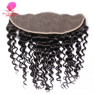 QUEEN BEAUTY HAIR Brazilian Remy Hair Lace Frontal Closure Deep Wave 13*4 Bleached Knots Baby Hair 100% Human Hair Shipping Free
