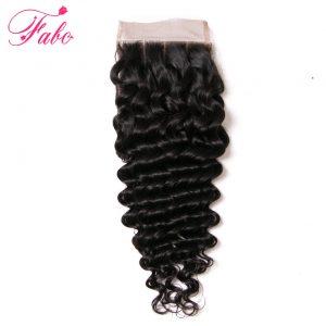 Fabc Human Hair Brazilian Deep Wave Closure Three Part Remy Hair  Lace Closure 130% Density 1 Piece 10-20 Inch Natural Color