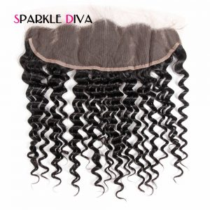 [SPARKLE DIVA HAIR] Brazilian Remy Hair Lace Frontal Closure Deep Wave 13x4 Ear To Ear Human hair With Baby Hair Free Part 8-18""