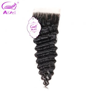 Ariel Brazilian Deep Wave Closure Free Part 4*4 100% Remy Human Hair Lace Closure Free Shipping