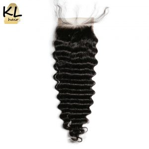 KL Hair 4x4 Free Part Deep Wave Lace Closure Human Hair Natural Color Brazilian Remy Hair Bleached Knots With Baby Hair