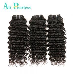"Ali Peerless Hair Deep Wave Brazilian Hair Weave Bundles 1pcs Virgin Human Hair Weave Nautal Black 10""-28""Free Shipping"