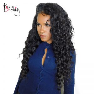 Ever Beauty 180% Density 360 Lace Frontal Wig Deep Wave Brazilian Human Remy Hair Natural Black 22.5X5X2