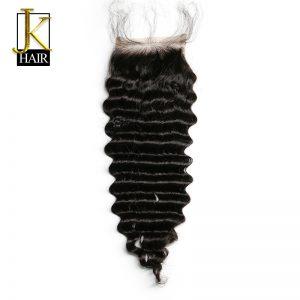 JK Hair Brazilian Lace Closure Hair Deep Wave 4x4 100% Remy Human Hair Closures Free Part Bleached Knots With Baby Hair Freeship