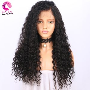 180 Density Glueless Full Lace Human Hair Wigs With Baby Hair Pre Plucked Natural Hairline Deep Wave Remy Hair Wigs Eva Hair