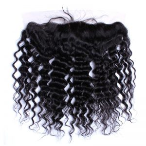 CARA Deep Wave Lace Frontal Closure Brazilian Remy Hair Natural Color 13x4 Pre Plucked With Baby Hair Free Part