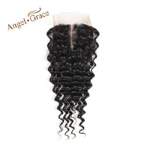 [ANGEL GRACE HAIR] Deep Wave Lace Closure Hair 100% Brazilian Remy Human Hair Swiss Lace Natural Color Middle Part 10-22 Inch