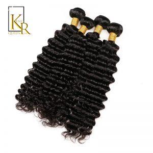 "Brazilian Deep Wave Human Hair Weave Bundles Non Remy Hair Extension 1PC Bundle No Split Ends Can Be Dyed 12-30"" King Rosa Queen"