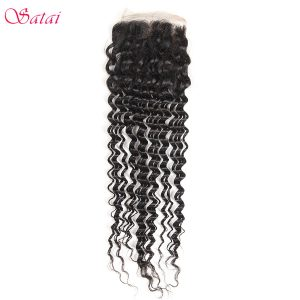 Satai Hair 4x4 Lace Closure Brazilian Deep Wave Remy Hair 10-20inch Natural Color 100% Human Hair Free Part No Tangle