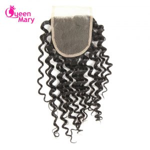 Queen Mary Brazilian Deep Wave Closure Non-Remy Hair Natural Color Lace Closure 100% Human Hair Free Part Free Shipping