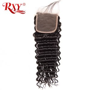 RXY Brazilian Deep Wave Closure Free Part 130% Density 4x4 Lace Closure Remy Human Hair Closures with Baby Hair 8-22 Inches