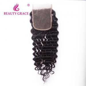 Beauty Grace Remy Hair Brazilian Deep Wave Lace Closure Free Part 4x4 Natural Color 100% Human Hair Top Closures 10-16 Inch