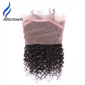 ALICROWN Deep Wave 360 Lace Frontal Closure Pre-Plucked With Baby Hair Brazilian Remy Human Hair Frontal Closures Bleached Knots