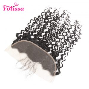 "Yolissa Human Hair 13""*4"" Ear To Lace Frontal Closure With Baby Hair Brazilian Deep Wave 8-20 inch Human non-remy Hair free ship"