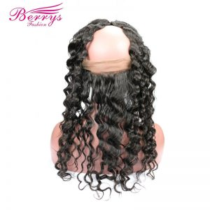 "[Berrys Fashion]Ear to Ear Lace Frontal Closure 22x4 Deep Wave Human Hair With Baby Hair 10-20"" Bleached Knots Remy Hair Bundles"
