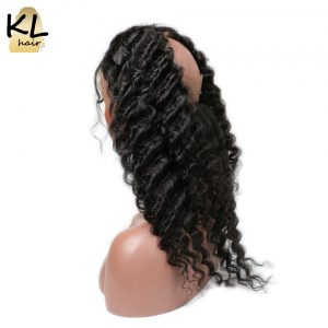 KL Hair Pre Plucked 360 Lace Frontal Deep Wave Natural Hairline Lace 360 Frontal Closure Brazilian Remy Hair With Baby Hair