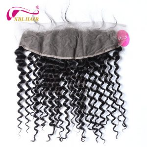 XBLHAIR Deep Wave 13x4 Lace Frontal Closure Ear To Ear With Baby Hair Brazilian Human Hair 100% Human Hair Remy Free Shipping
