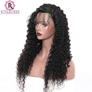 250% Density Lace Front Human Hair Wigs For Black Women Deep Wave Pre Plucked Brazilian Lace Wig With Baby Hair Rosa Queen Remy