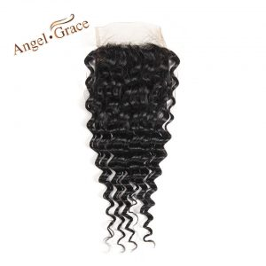 ANGEL GRACE Hair Deep Wave Closure Free Part Remy Hair 100% Human Hair Natural Color Brazilian Lace Closure Hair 10-22 Inch