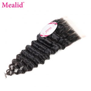 "[Mealid] Brazilian Deep Wave Closure Free Part 1 Piece Only Remy Natural Color 8""-20"" Human Hair Lace Closure"