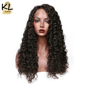 KL Hair Deep Wave Full Lace Human Hair Wigs Natural Color 1B Brazilian Remy Hair Lace Wigs For Black Women With Baby Hair