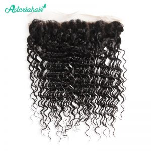Asteria Real Brazilian Deep Wave 13X4 Lace Frontal Closure With Baby Hair 8-20 Inches Non-Remy Hair Free shipping