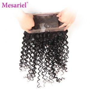 Mesariel Brazilian Deep Wave 360 Frontal Closure 100 Human Hair Non-remy Hair 10-20inch Lace Closure Natural Black Color