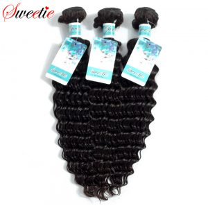 Sweetie Brazilian Deep Wave 100% Hair Bundles Human Hair Weaving Extensions non remy Natural Black 100g 1 Piece Free Shipping