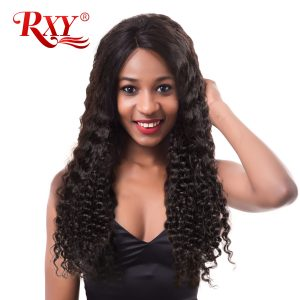 RXY Deep Wave Brazilian Hair Weave Bundles 100% Human Hair Extensions Remy Hair Bundles Natural Color 1PC 10-28 Inches