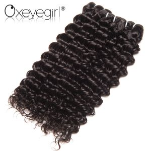 Oxeye girl Deep Wave Brazilian Hair Weave Bundles Natural Color Non Remy hair bundles Human Hair Extensions Can Buy 3/4 Bundles