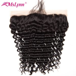 "Mslynn Hair Brazilian Deep Wave Closure Pre Plucked Lace Frontal Closure With Baby Hair Non Remy Human Hair Free Part 8""-24"""