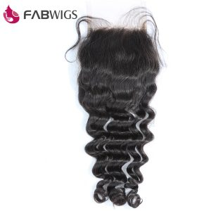 "Fabwigs 3.5X4"" Free Part Lace Closure Peruvian Deep Wave Closure Bleached Knots 100% Remy Human Hair Piece Freeshipping"
